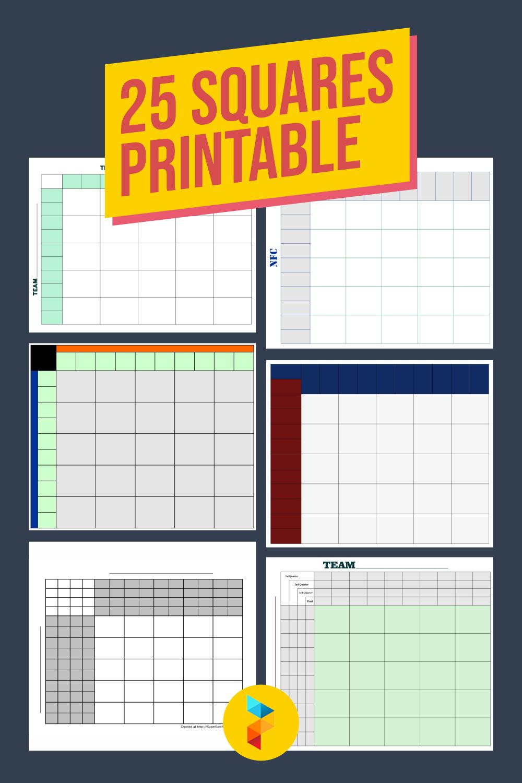 25 Squares Printable