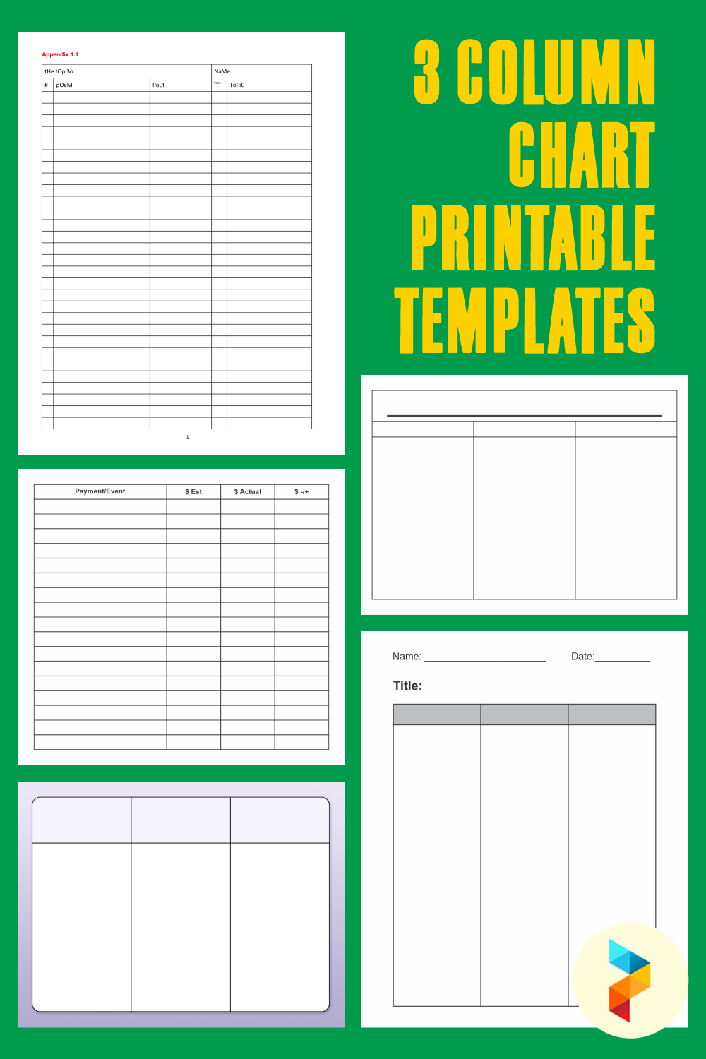 3 Column Chart Printable Templates