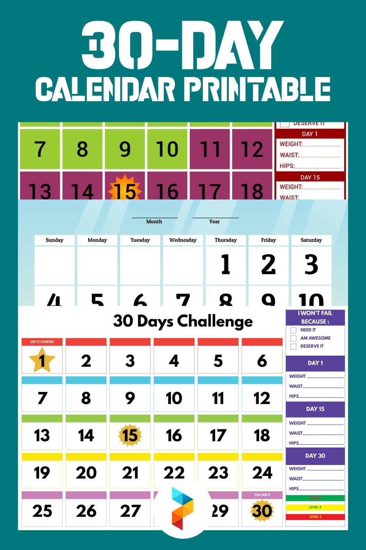 30-Day Calendar Printable