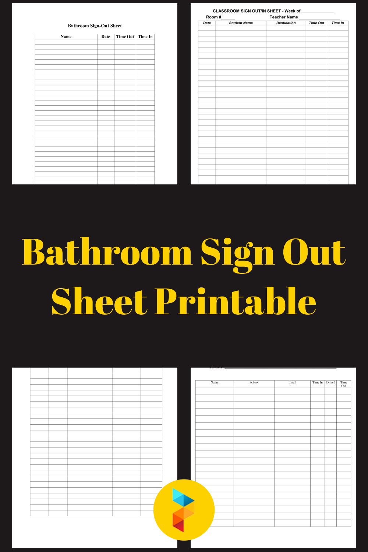 Bathroom Sign Out Sheet Printable
