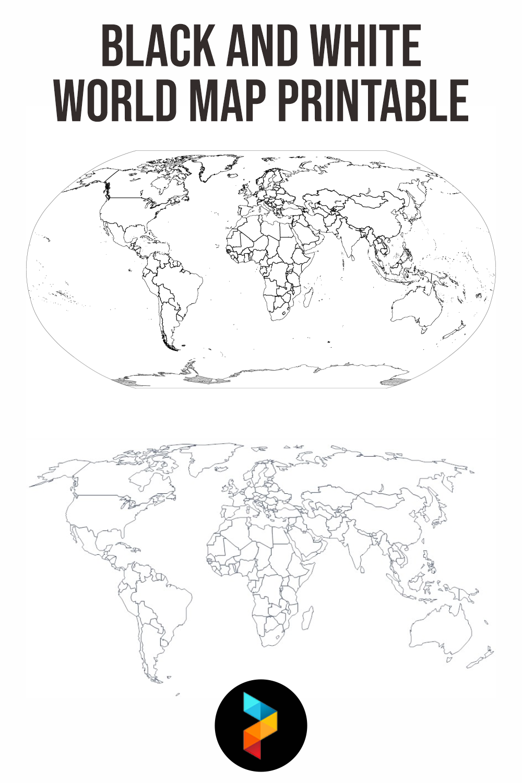 Black And White World Map Printable