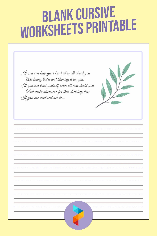 Blank Cursive Worksheets Printable