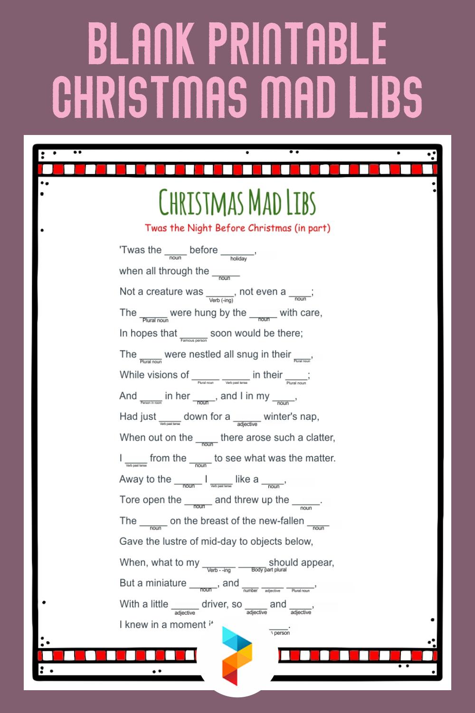 Blank Printable Christmas Mad Libs