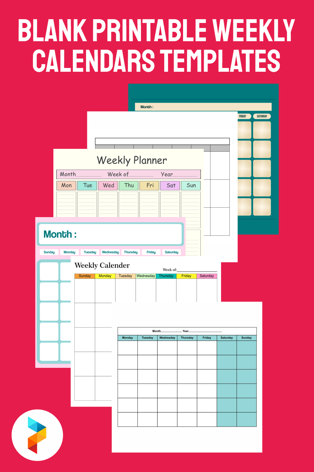 Blank Printable Weekly Calendars Templates