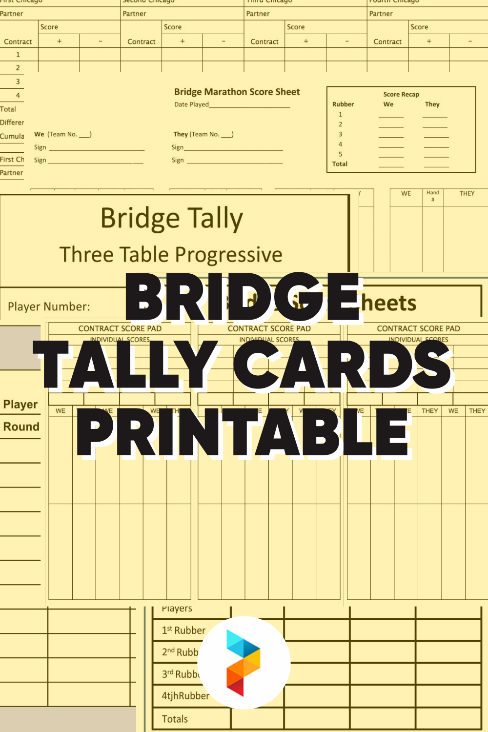 Bridge Tally Cards Printable