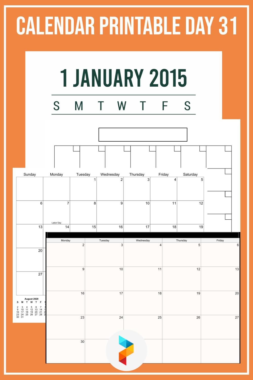 Calendar Printable Day 31
