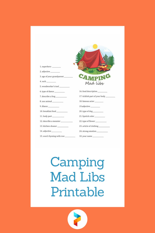 Camping Mad Libs Printable