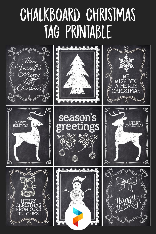 Chalkboard Christmas Tag Printable