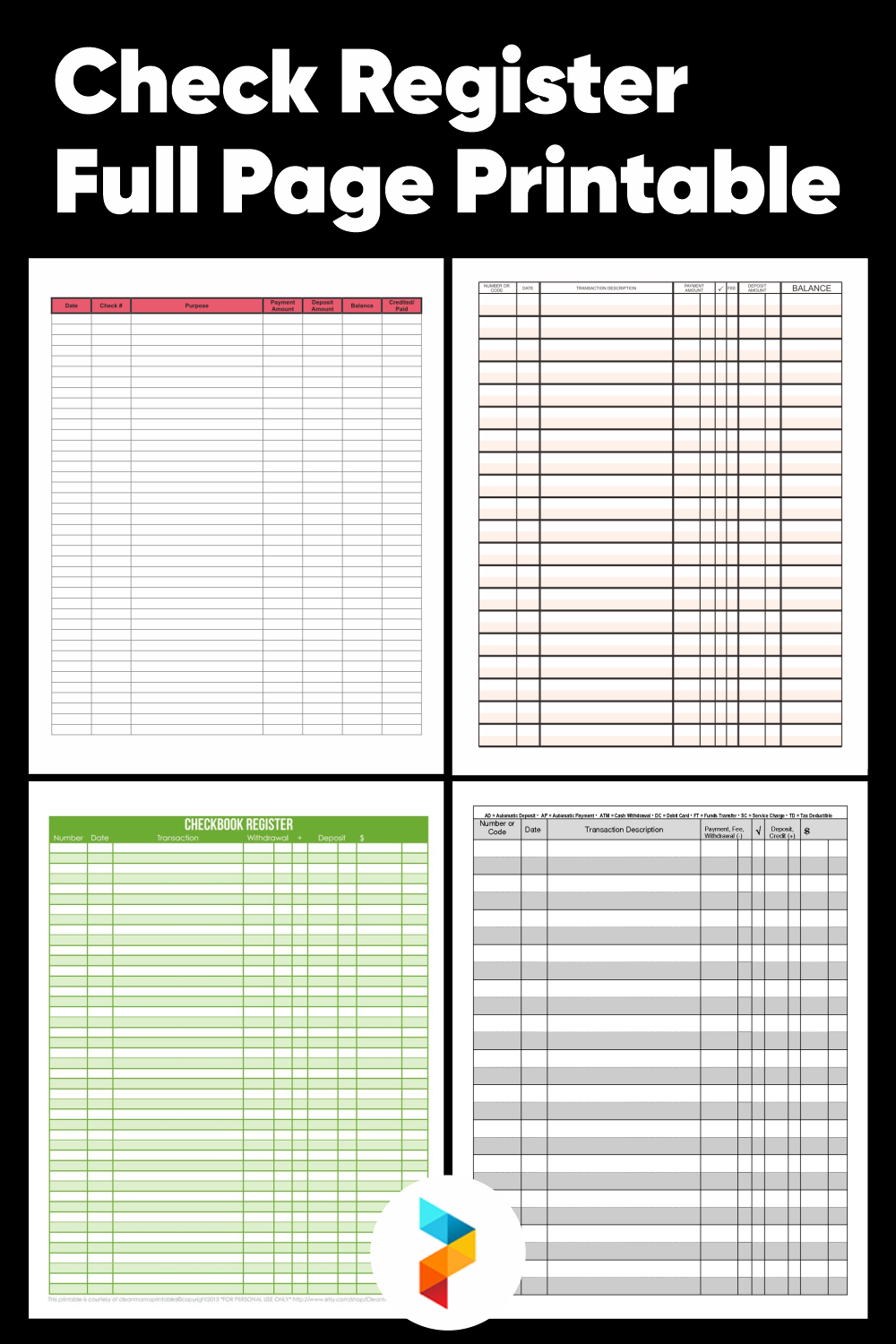 Check Register Full Page Printable