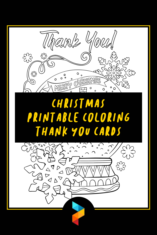 Christmas Printable Coloring Thank You Cards