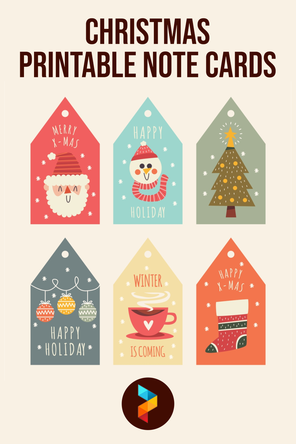 Christmas Printable Note Cards