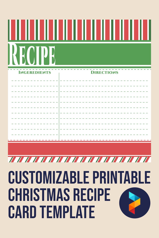 Customizable Printable Christmas Recipe Card Template