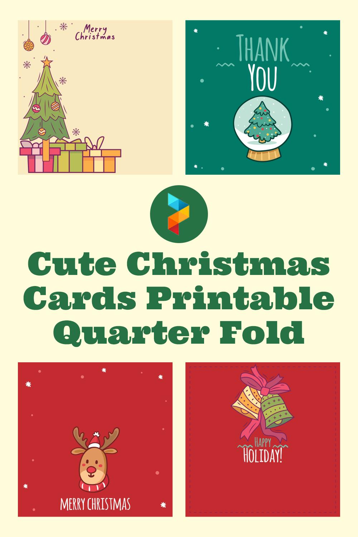 Cute Christmas Cards Printable Quarter Fold