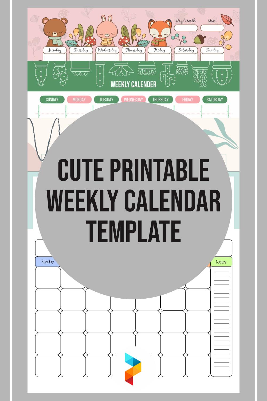 8 Best Cute Printable Weekly Calendar Template ...