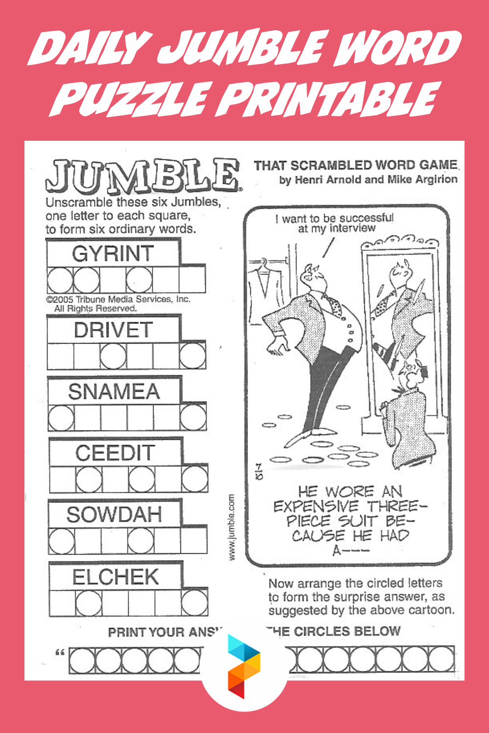 Daily Jumble Word Puzzle Printable