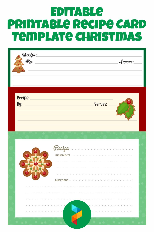 Editable Printable Recipe Card Template Christmas