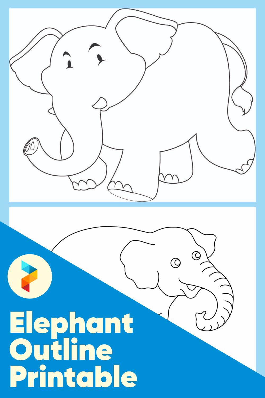 Elephant Outline Printable