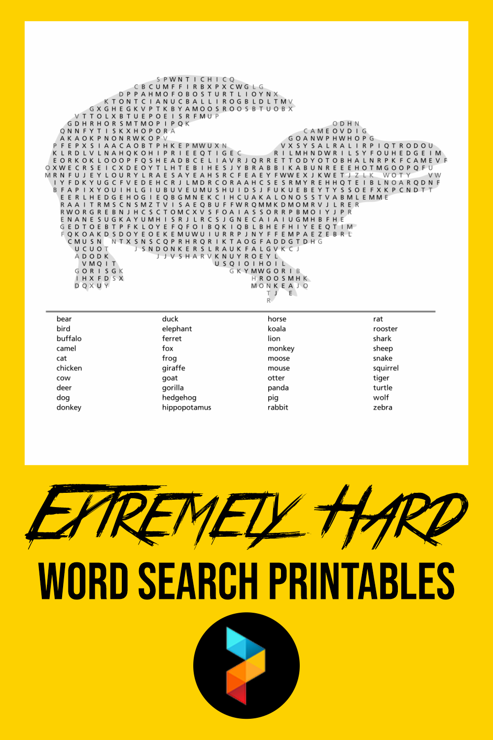 Extremely Hard Word Search Printables