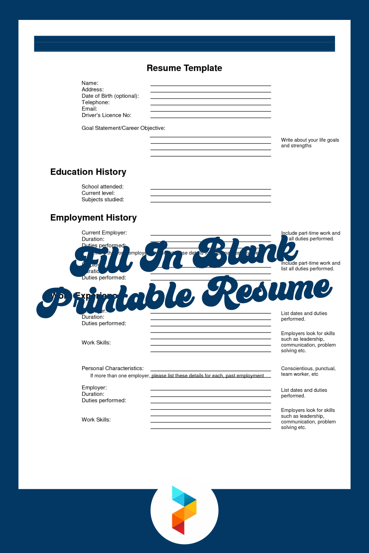 Fill In Blank Printable Resume
