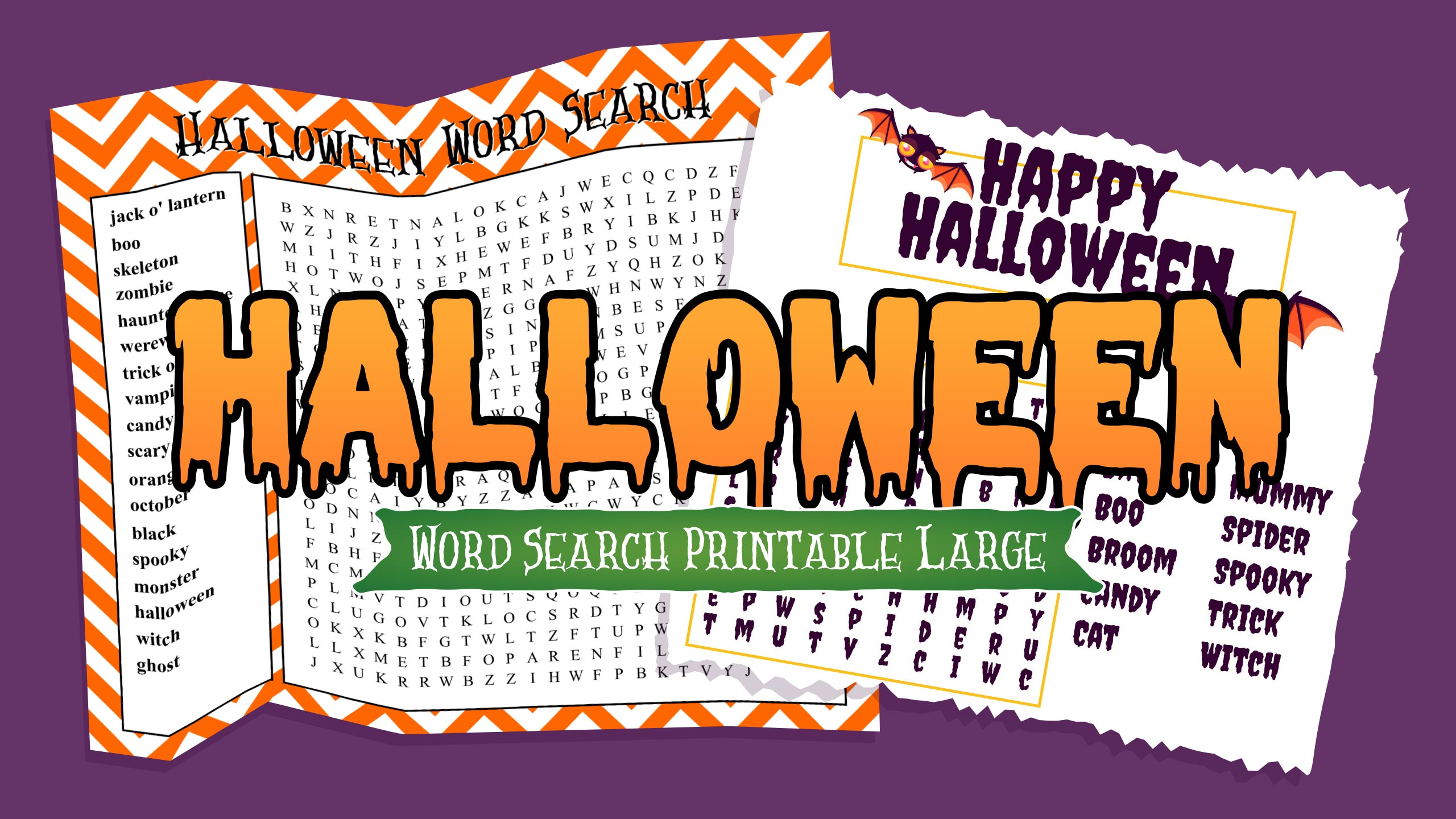 Halloween Word Search Printable Large