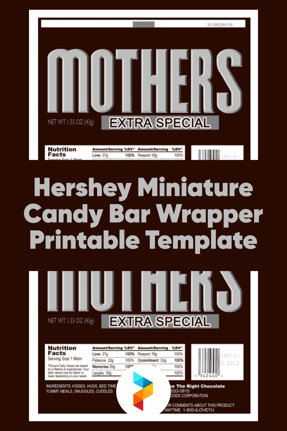 Hershey Miniature Candy Bar Wrapper Printable Template