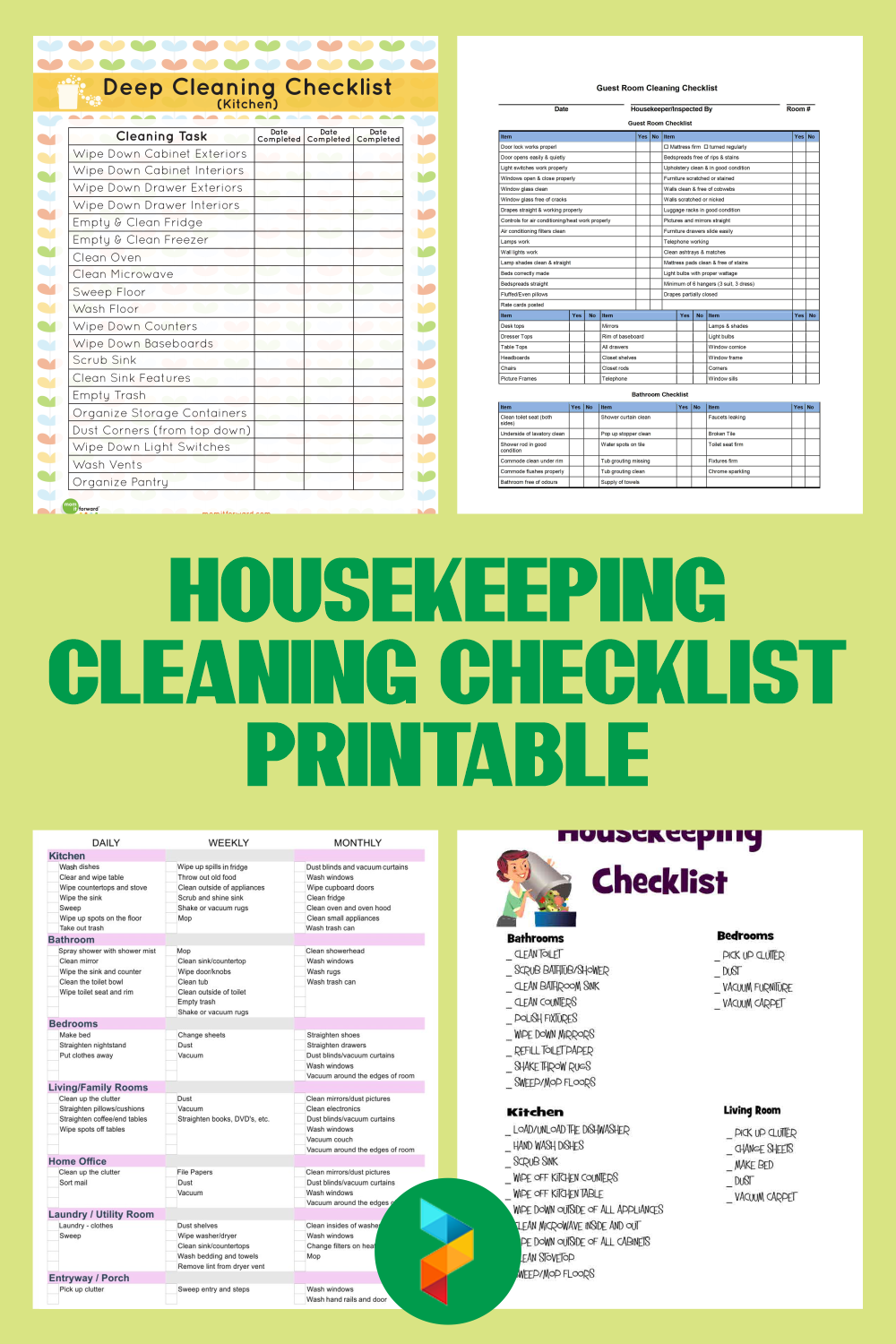 Housekeeping Cleaning Checklist Printable