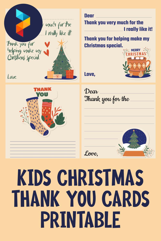 Kids Christmas Thank You Cards Printable