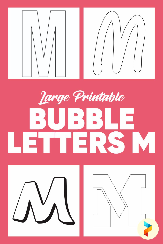 Large Printable Bubble Letters M