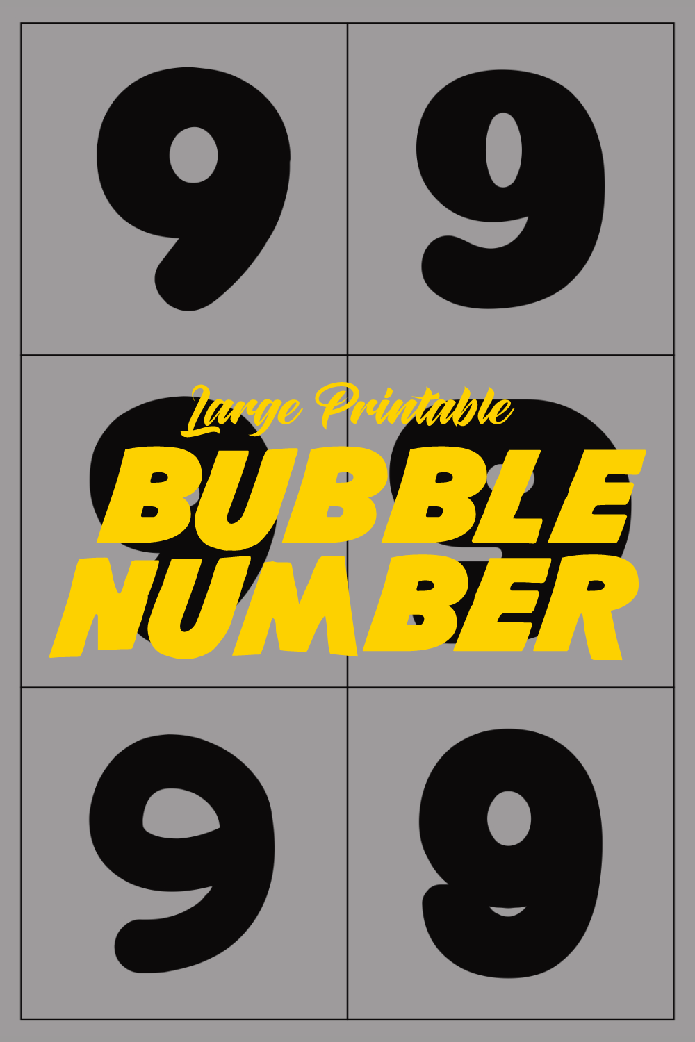 Large Printable Bubble Number 9