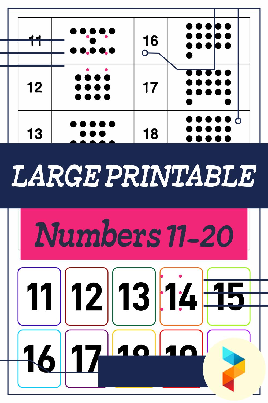 Large Printable Numbers 11-20