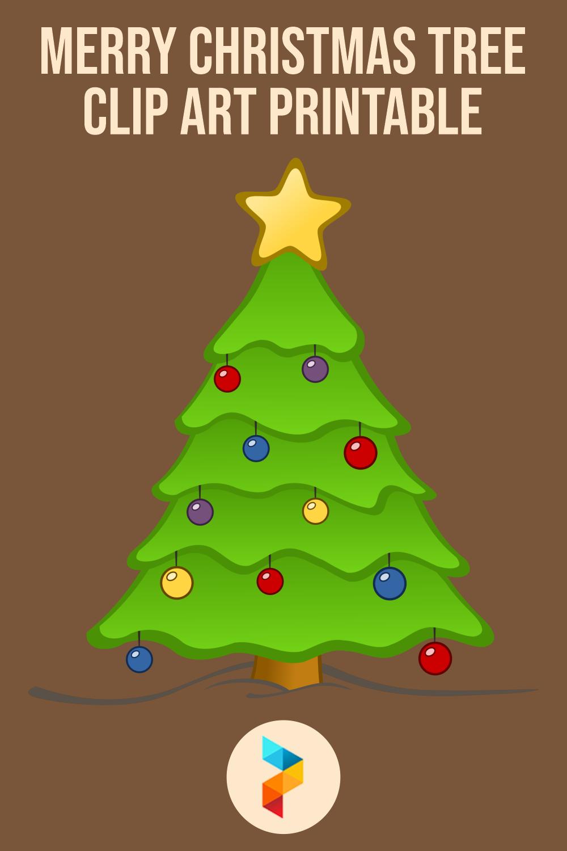 Merry Christmas Tree Clip Art Printable