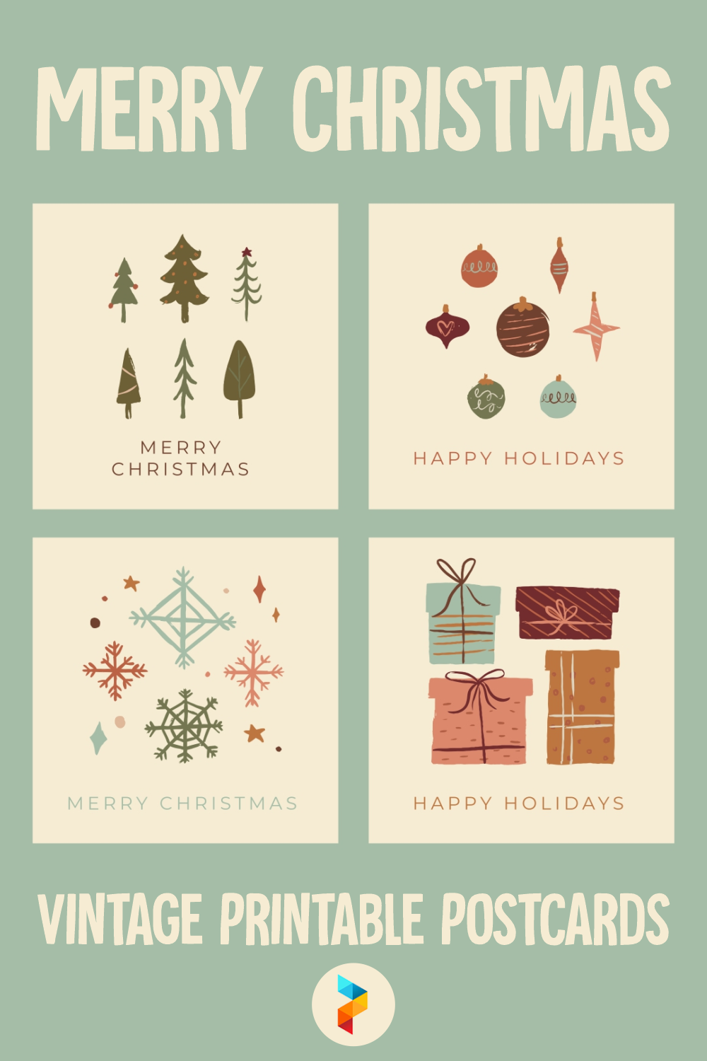 Merry Christmas Vintage Printable Postcards