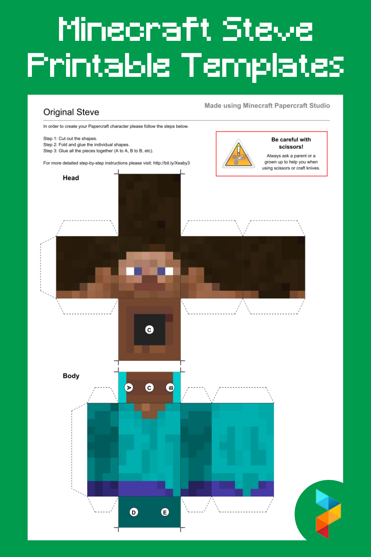 Minecraft Steve Printable Templates