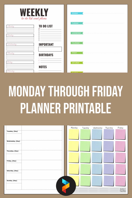 Monday Through Friday Planner Printable