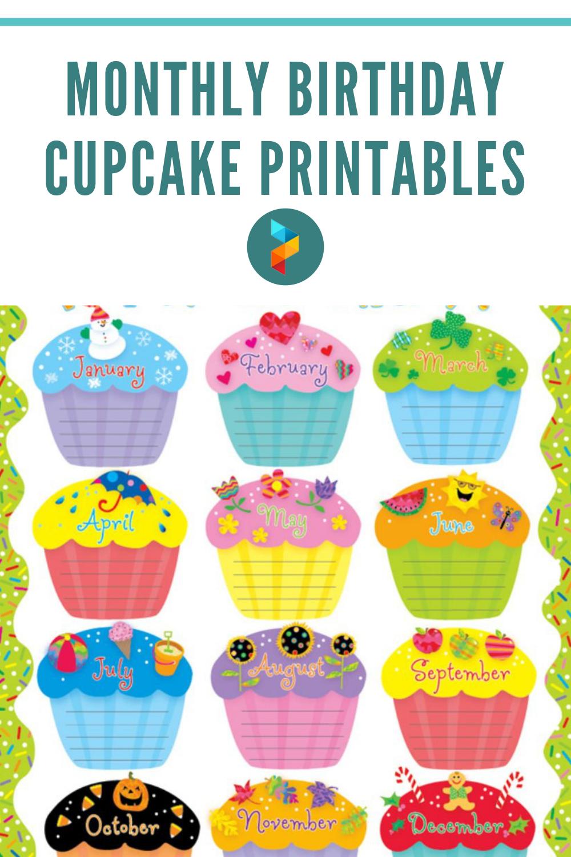 Monthly Birthday Cupcake Printables