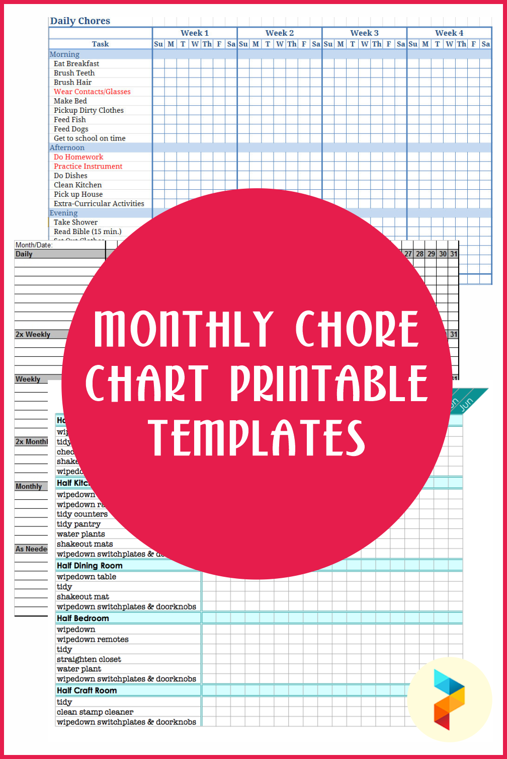 Monthly Chore Chart Printable Templates