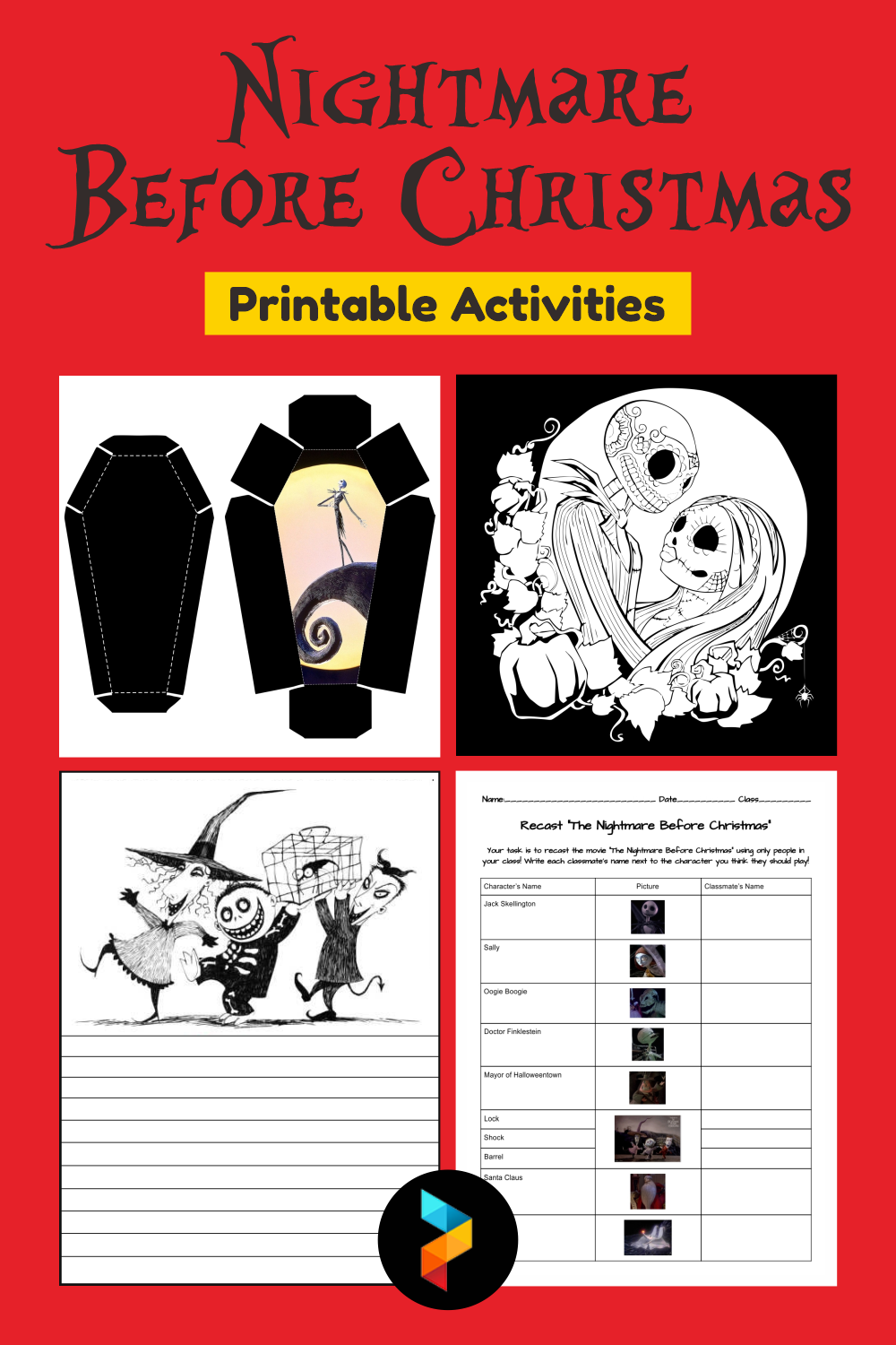 Nightmare Before Christmas Printable Activities