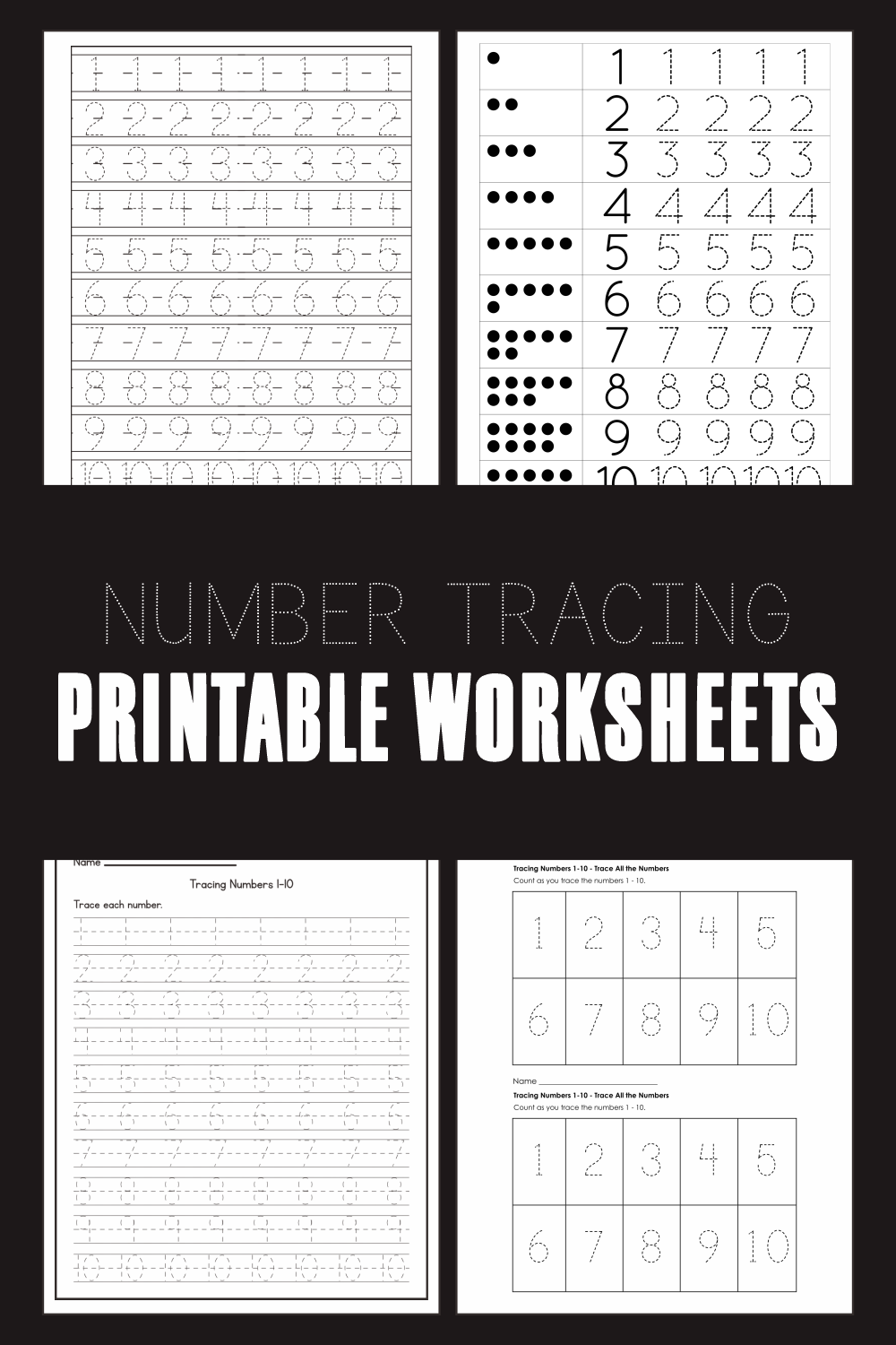 Number Tracing Printable Worksheets