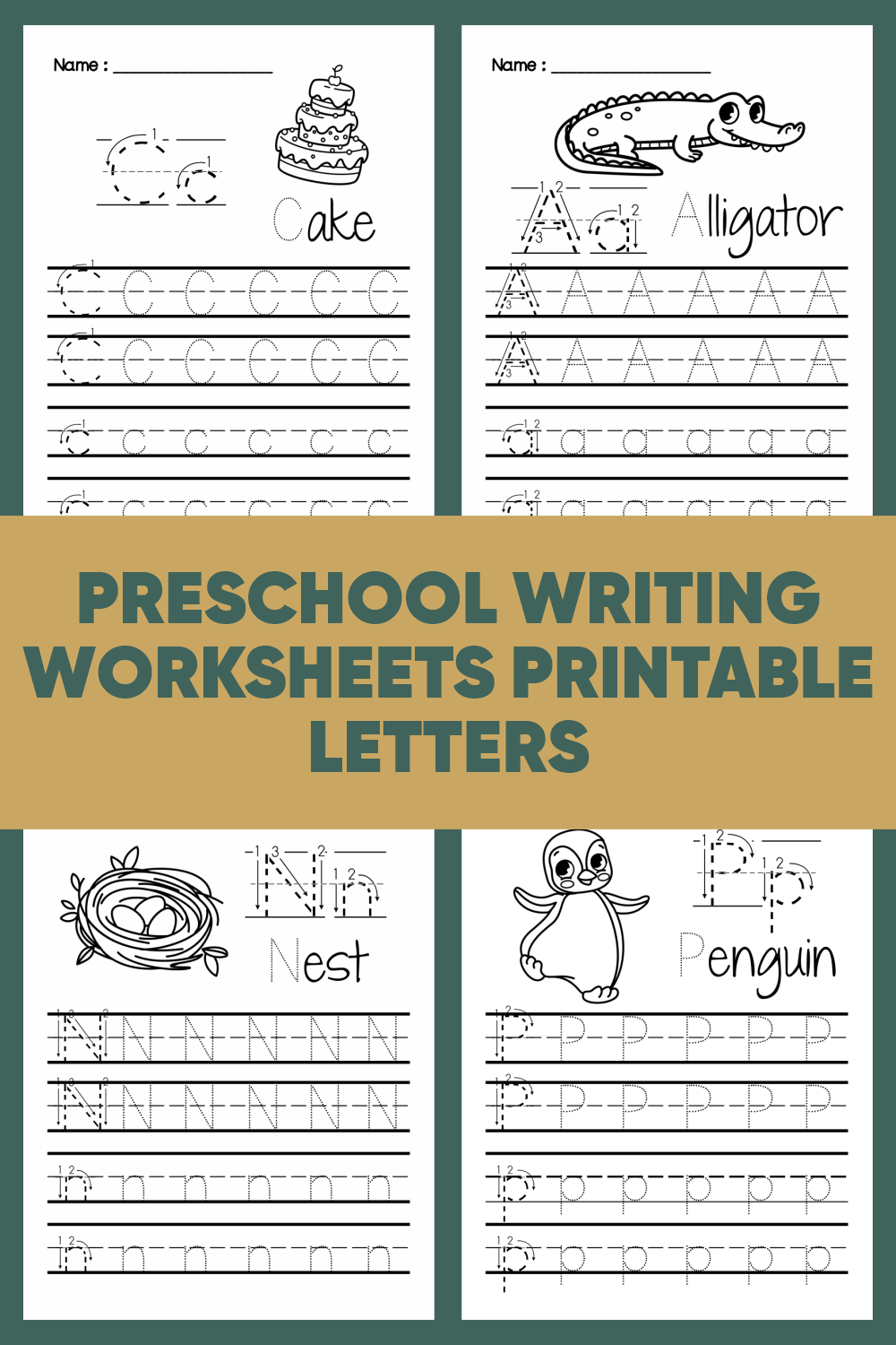 Preschool Writing Worksheets Printable Letters