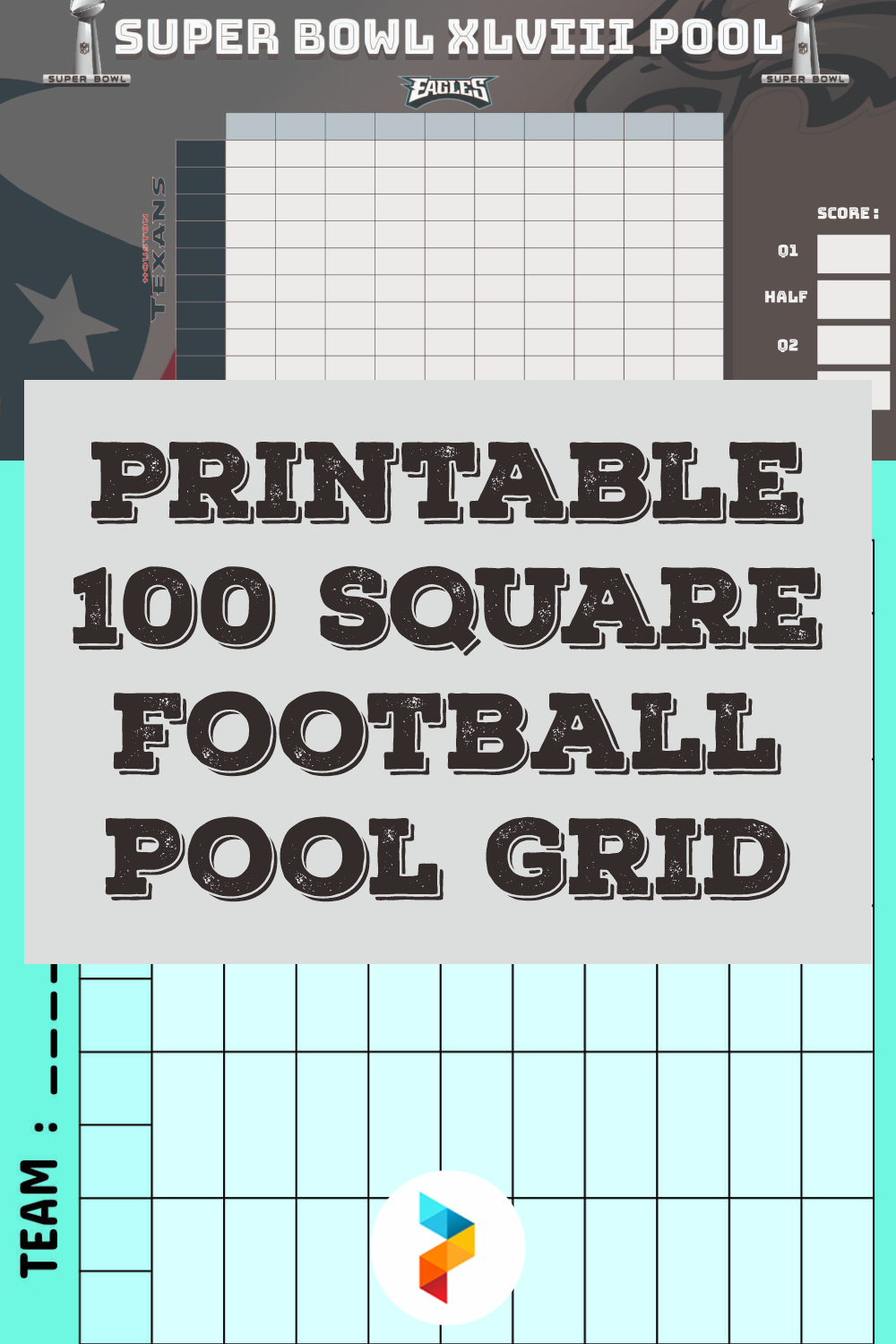 Printable 100 Square Football Pool Grid
