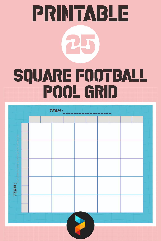 Printable 25 Square Football Pool Grid