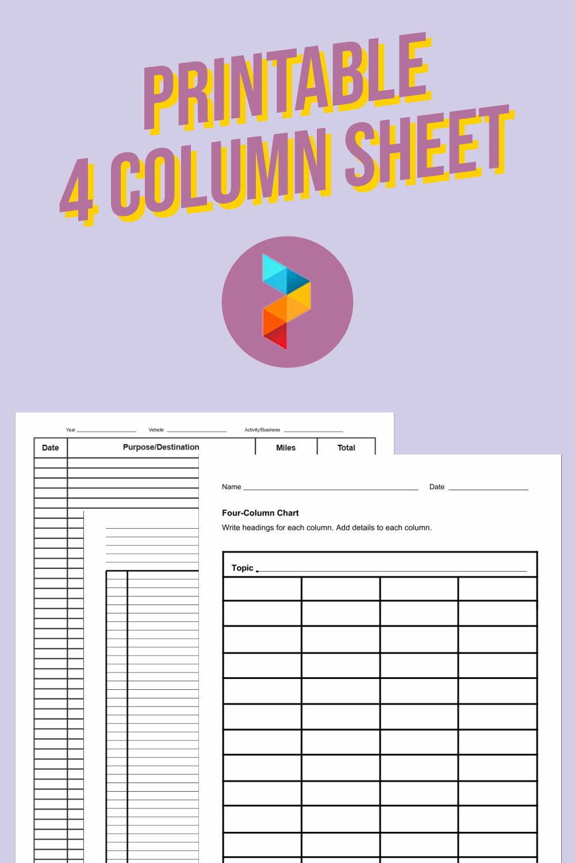Printable 4 Column Sheet