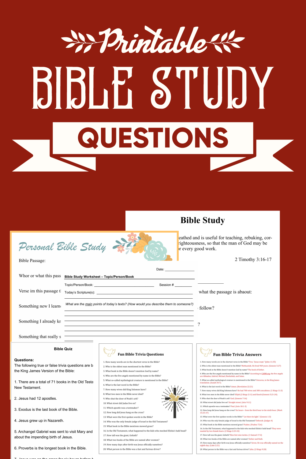 Printable Bible Study Questions