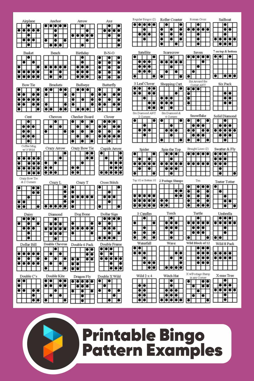 Printable Bingo Pattern Examples