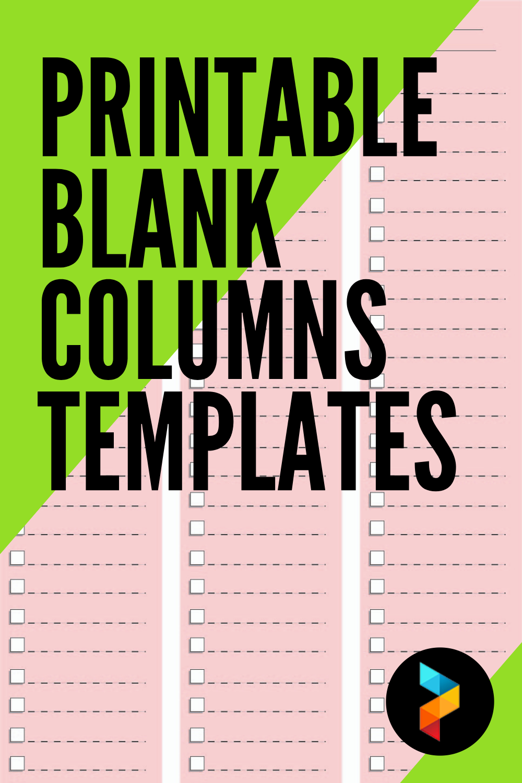 Printable Blank Columns Templates