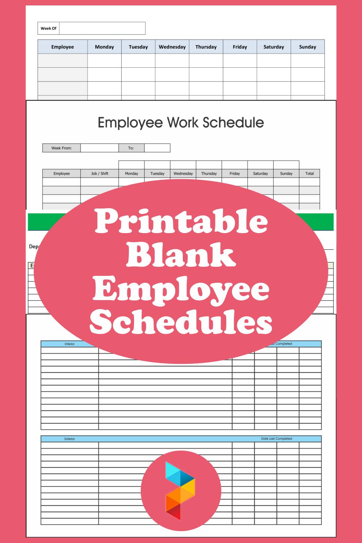 Printable Blank Employee Schedules