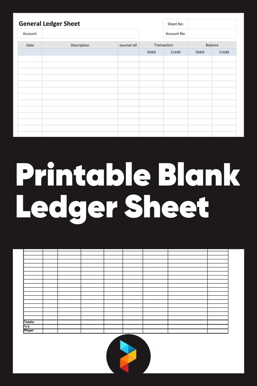 Printable Blank Ledger Sheet
