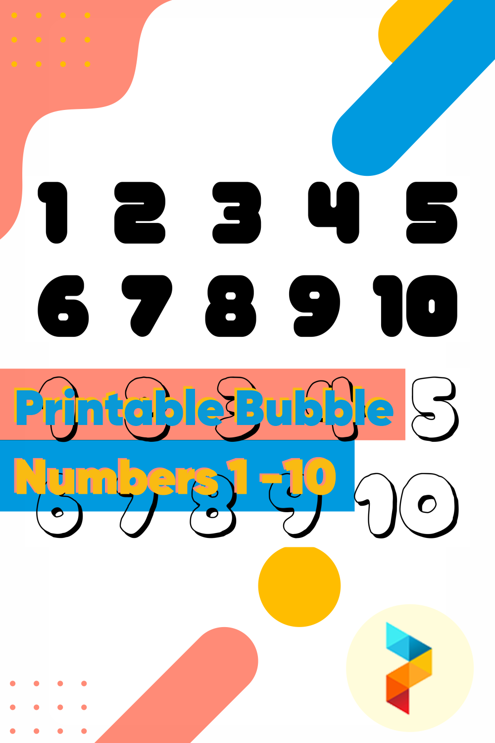Printable Bubble Numbers 1 -10
