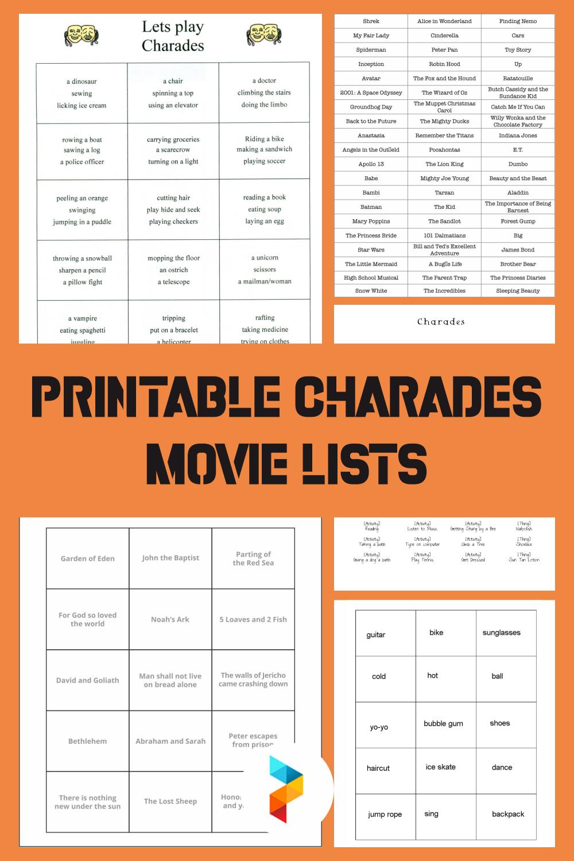 Printable Charades Movie Lists