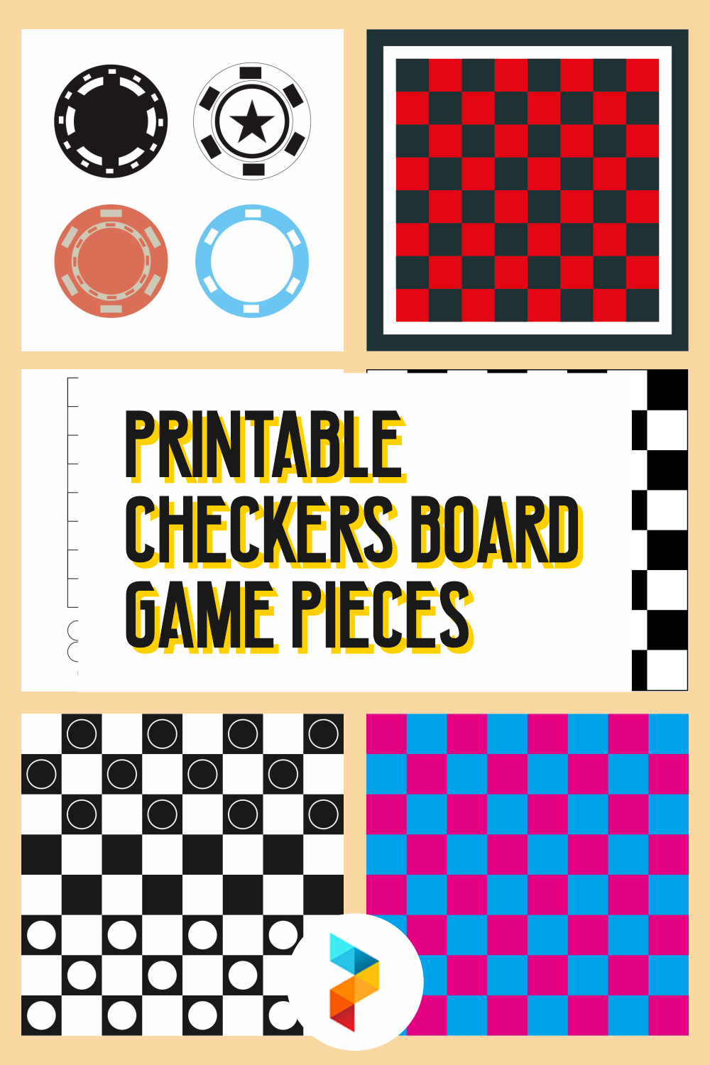 Printable Checkers Board Game Pieces